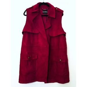Express Berry Sleeveless Faux Suede Trench Coat